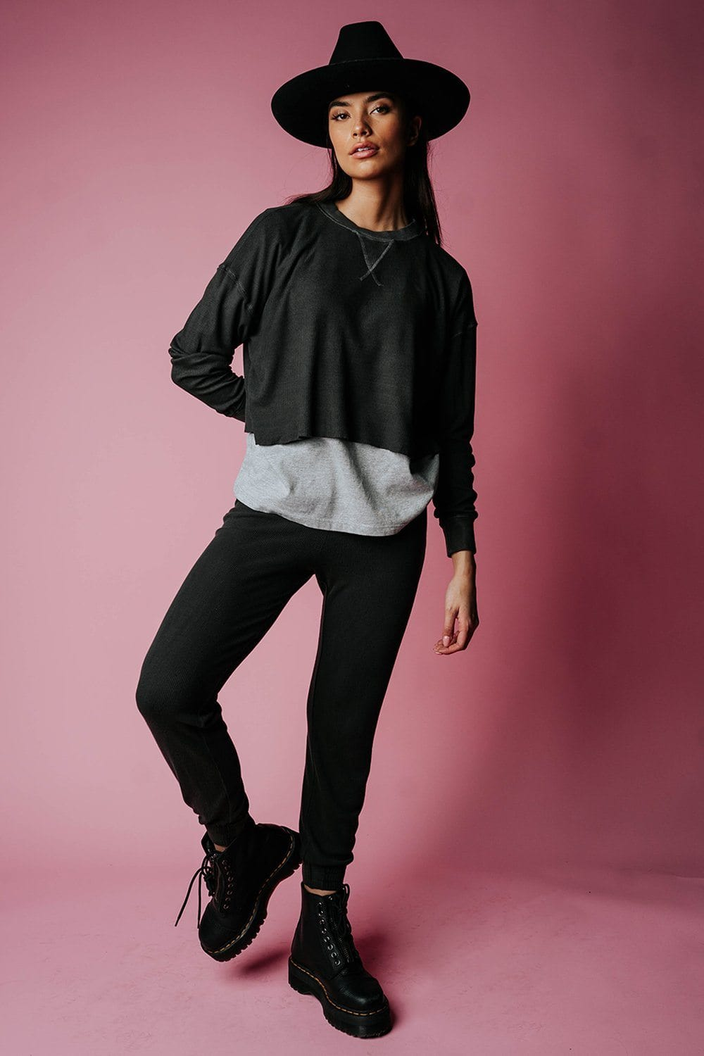 The Rickie Pullover in Charcoal Top n/a Clad and Cloth