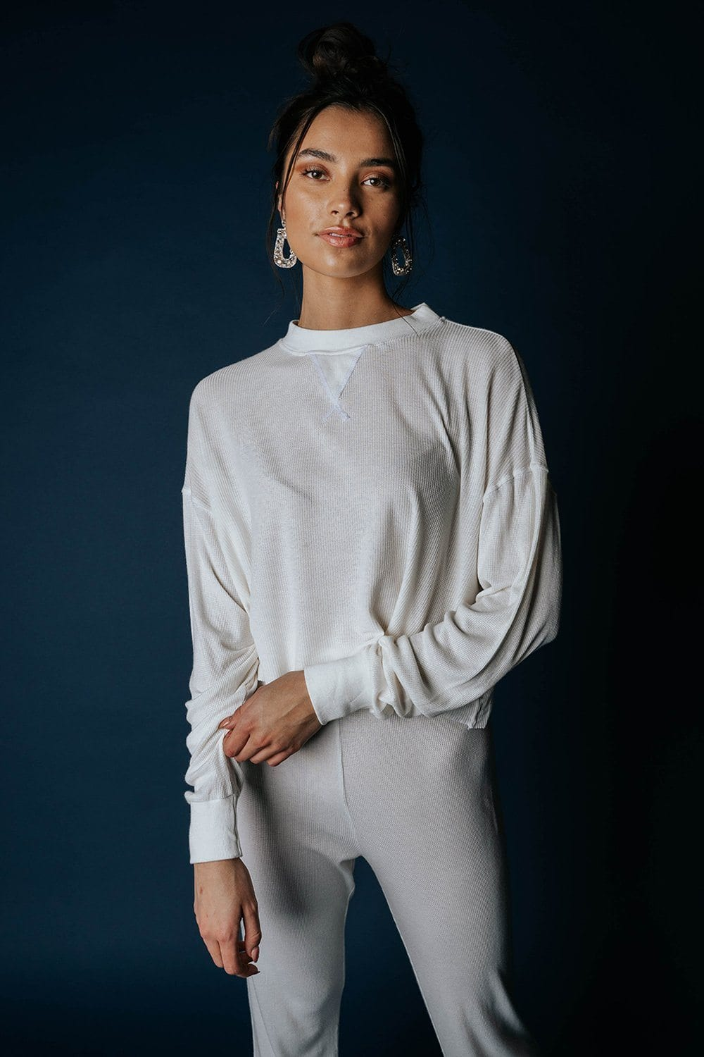The Rickie Pullover in Ivory Top n/a Clad and Cloth