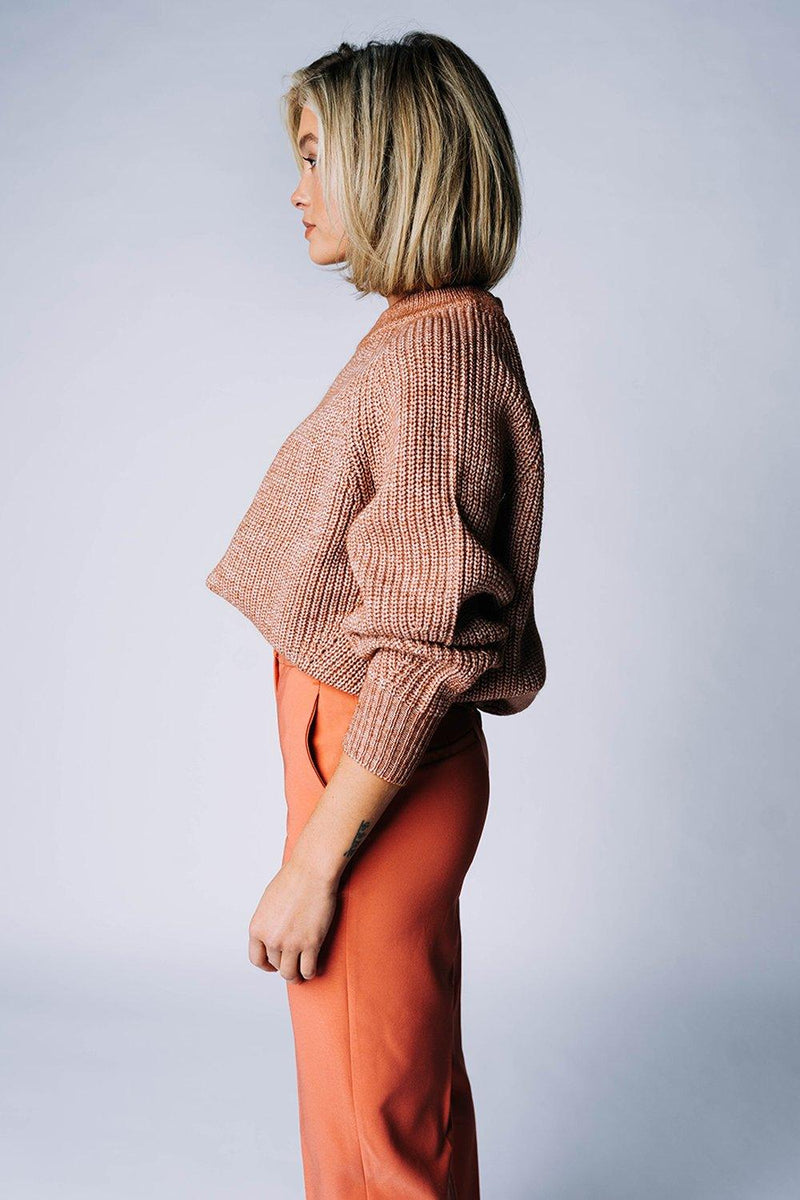 Clad and Cloth, The Stanford Sweater in Hazelnut, hyfve, Top.