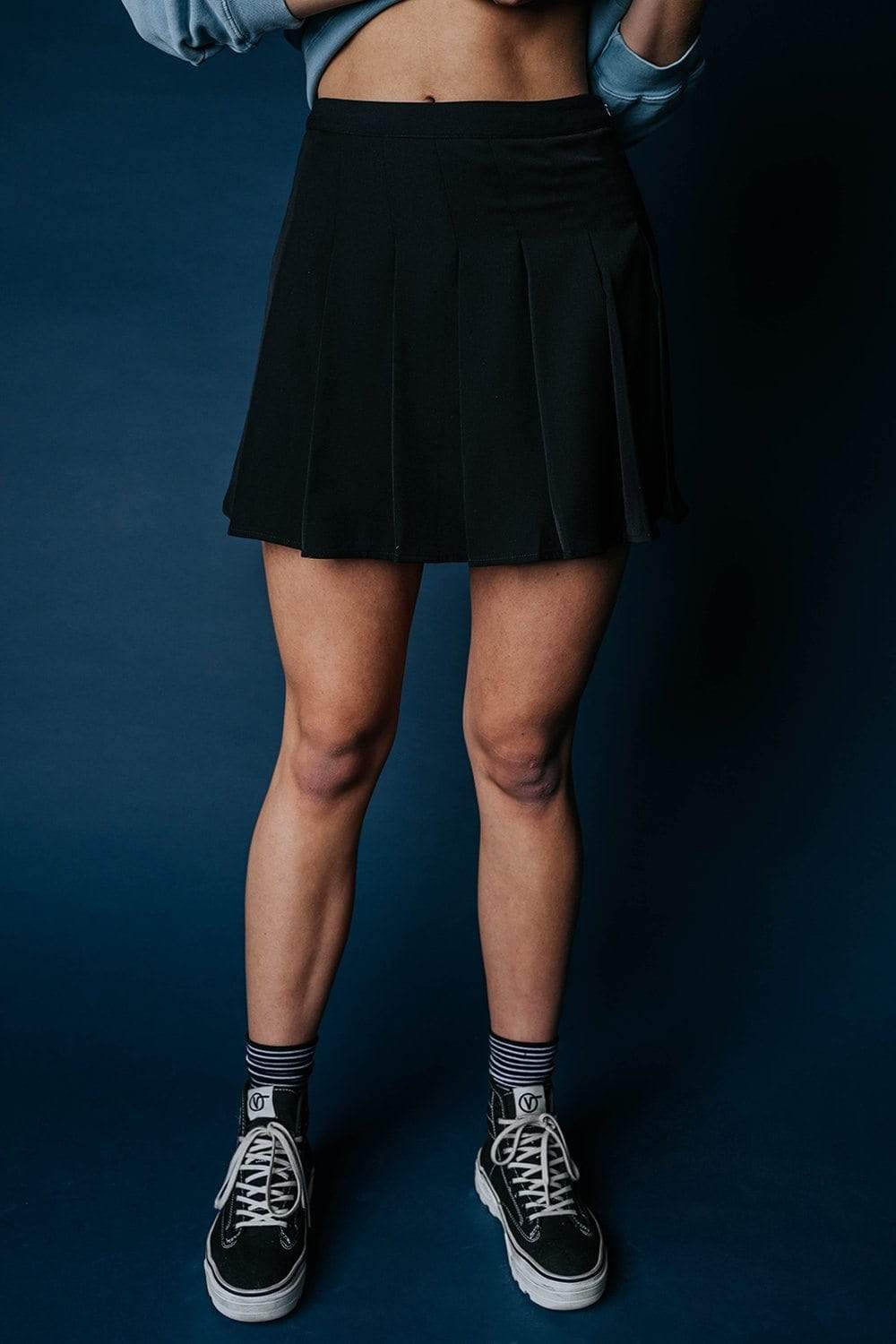 The Williams Tennis Skirt in Black, cladandcloth, Bailey Rose.