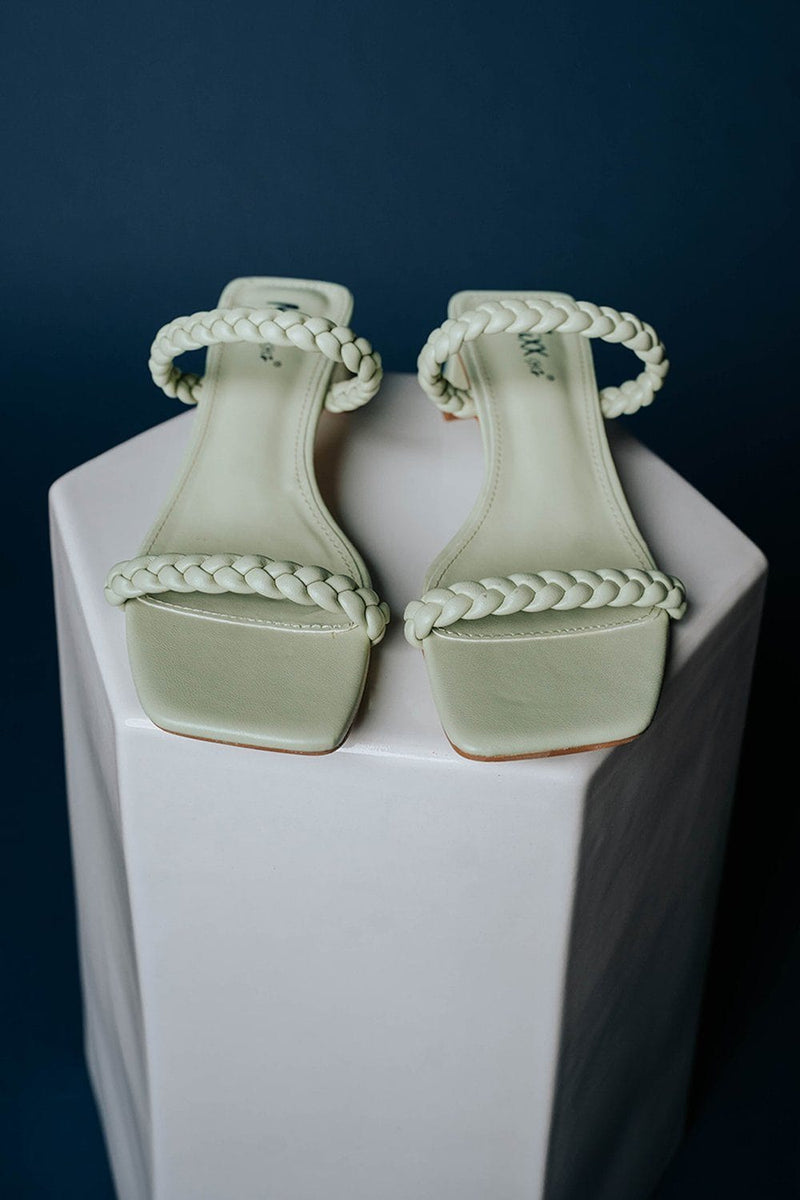 Clad and Cloth, Walk in Rome Heels in Lime, Clad & Cloth, Shoes.