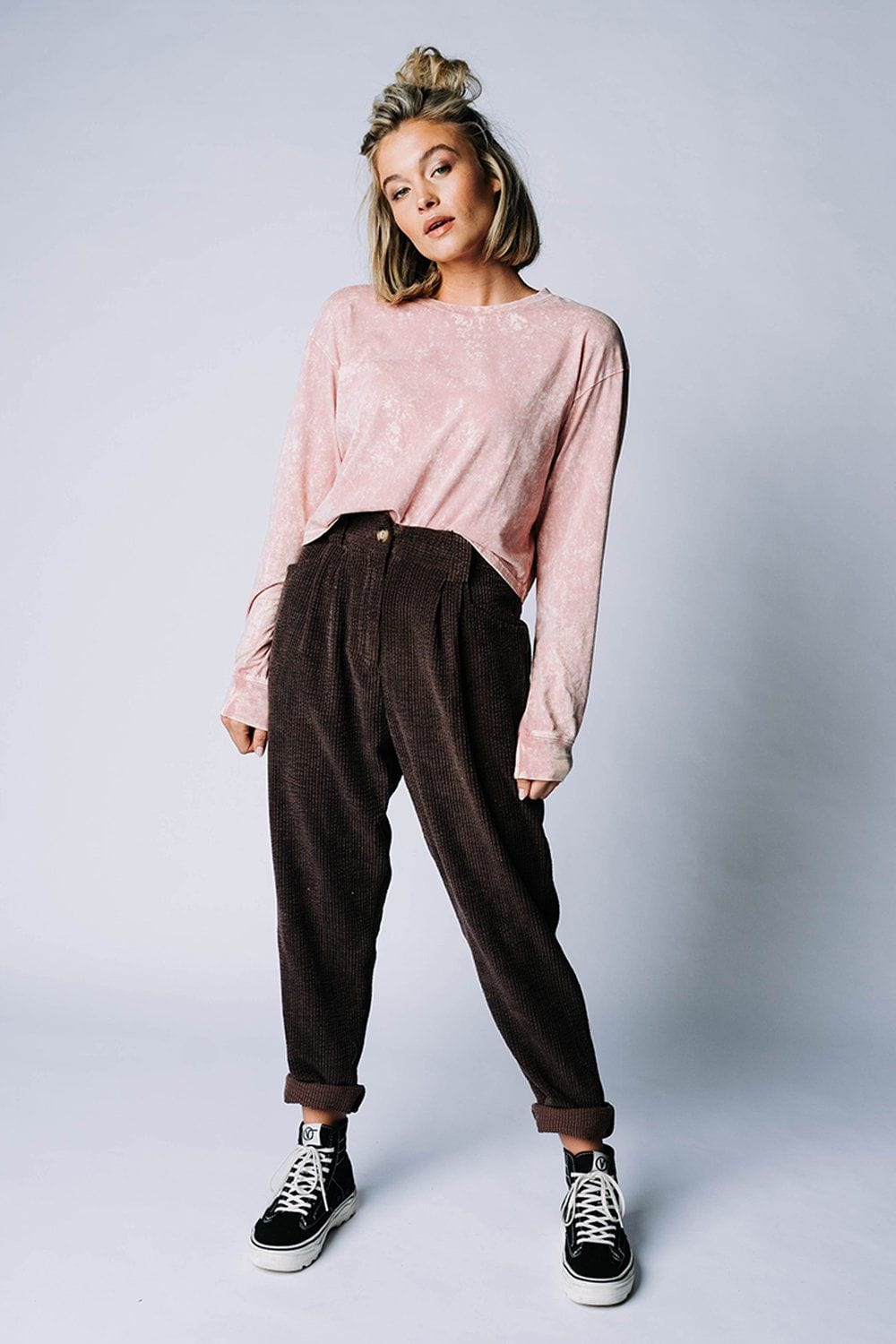 Clad and Cloth, Young Love Long Sleeve Crop in Desert Rose, hyfve, Top.
