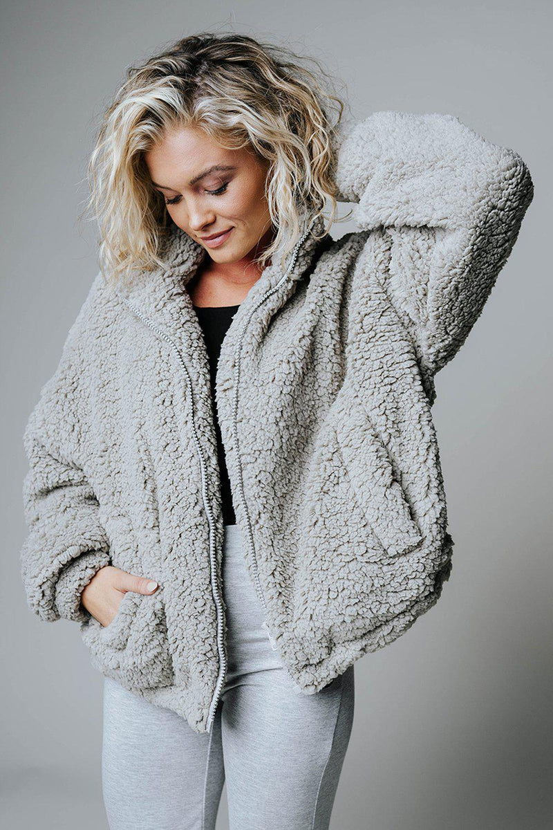Clad and Cloth, After Hours Faux Teddy Jacket in Grey, Clad & Cloth, Top.