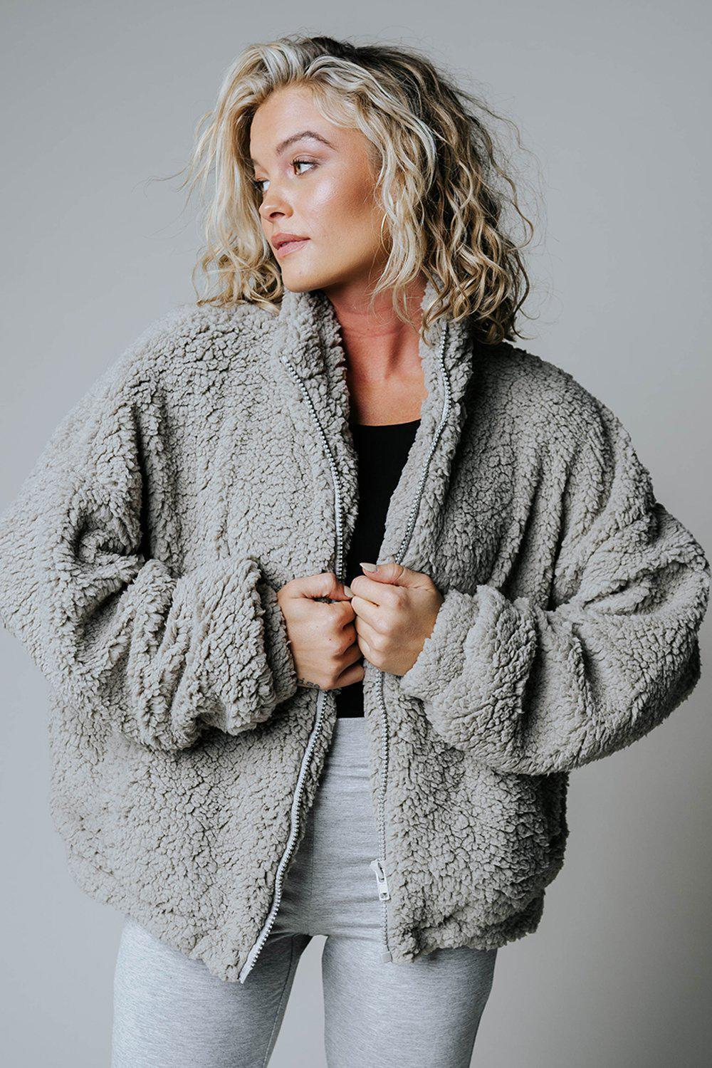 After Hours Faux Teddy Jacket in Grey-Top-n/a-S-Clad & Cloth