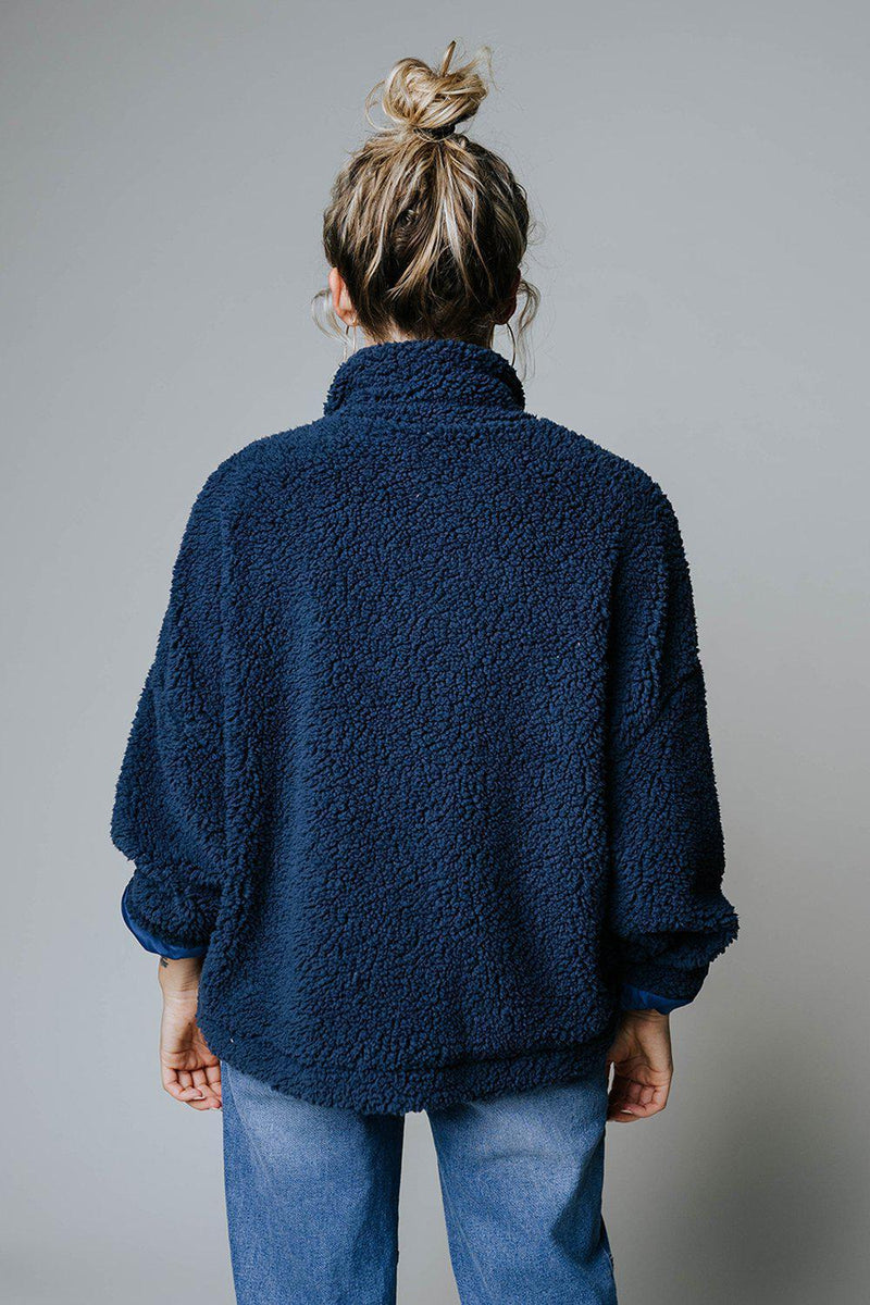 After Hours Faux Teddy Jacket in Navy-Top-n/a-S-Clad & Cloth