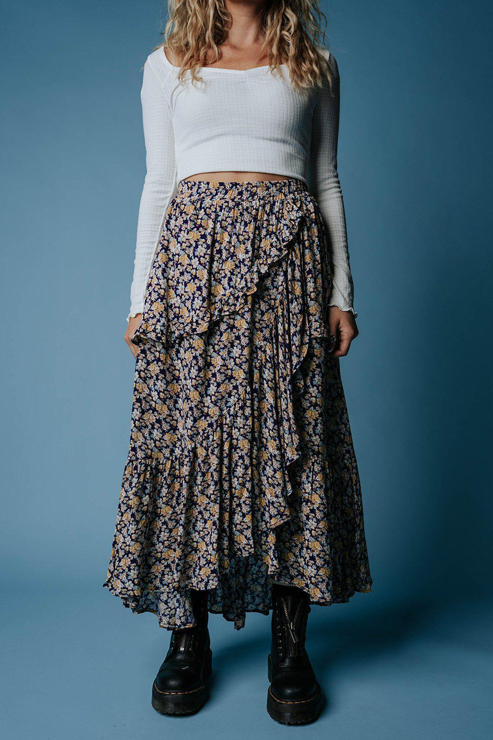 All Ruffled Up Floral Maxi Skirt-Skirt-n/a-S-Clad & Cloth