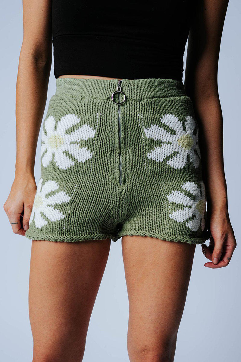Best Bud Knit Shorts in Green Combo, cladandcloth, n/a.