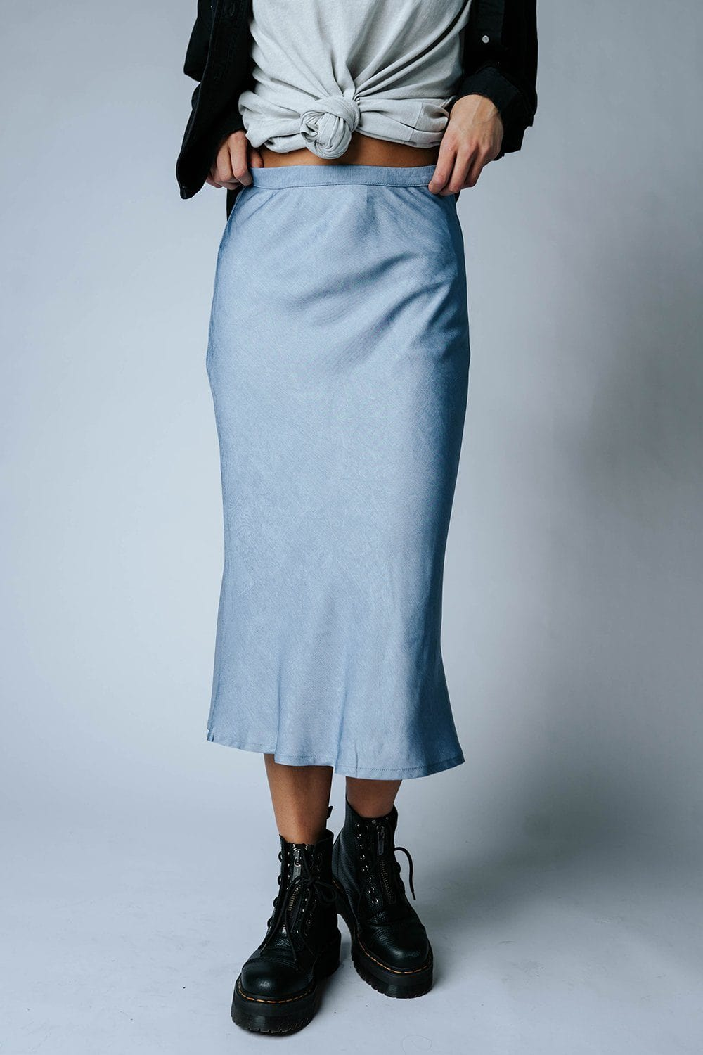 Blue Satin Skies Midi Skirt-Skirt-n/a-S-Clad & Cloth