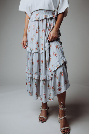 best_seller, Calypso Floral Maxi Skirt in Cool Blue - FINAL SALE, Skirt, women's clothing, dresses, skirts, coats, jackets, shoes, boots, tops, tee shirts, jeans, free people, levi's, rollas, jumpsuits, bottoms, tops, sweaters, pullovers, pants, shorts, sweats,.