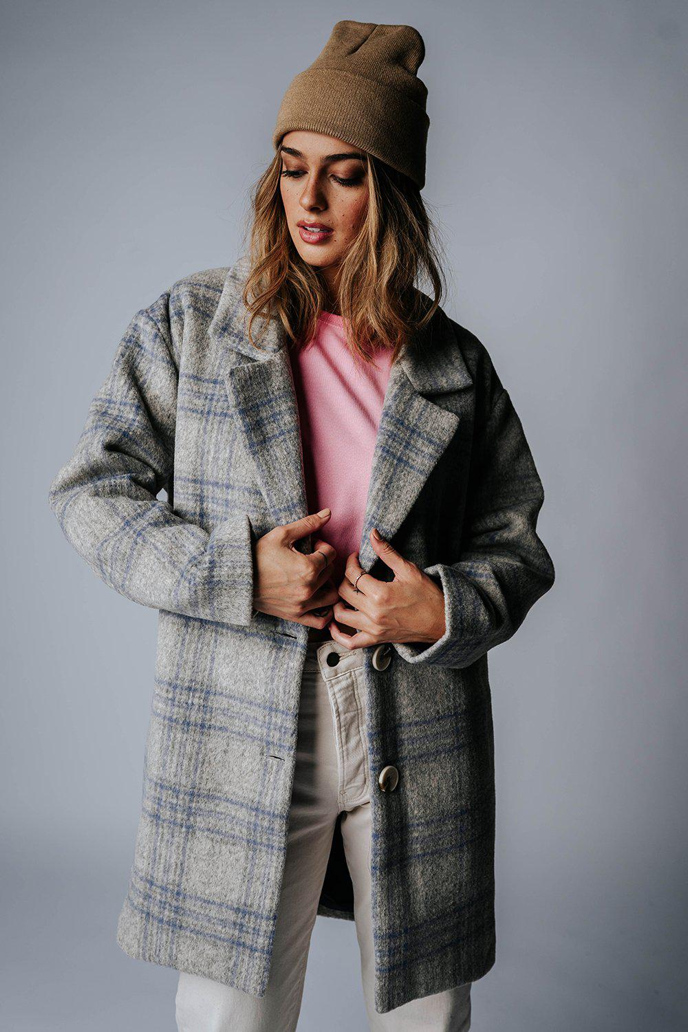 best_seller, City Slicker Plaid Coat in Grey Combo - FINAL SALE, Top, women's clothing, dresses, skirts, coats, jackets, shoes, boots, tops, tee shirts, jeans, free people, levi's, rollas, jumpsuits, bottoms, tops, sweaters, pullovers, pants, shorts, sweats,.