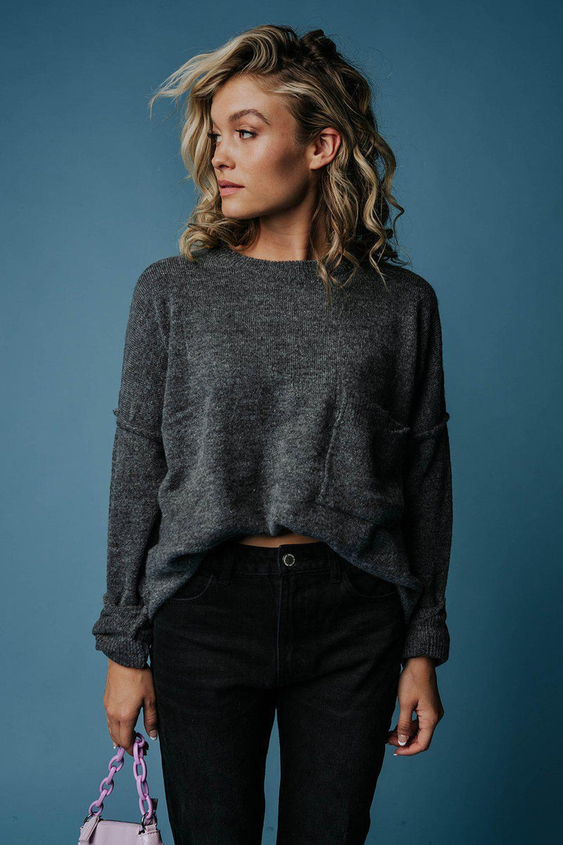 Clad and Cloth, Closer to You Sweater in Charcoal, Zenana, Top.