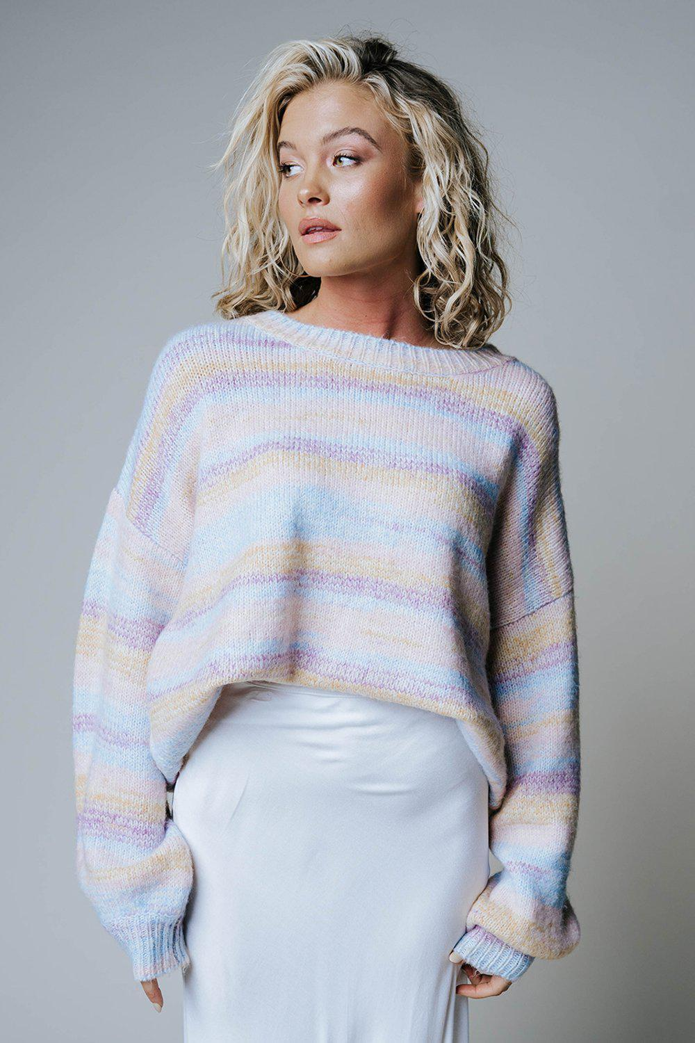Cotton Candy Striped Oversized Pullover-Top-n/a-S-Clad & Cloth