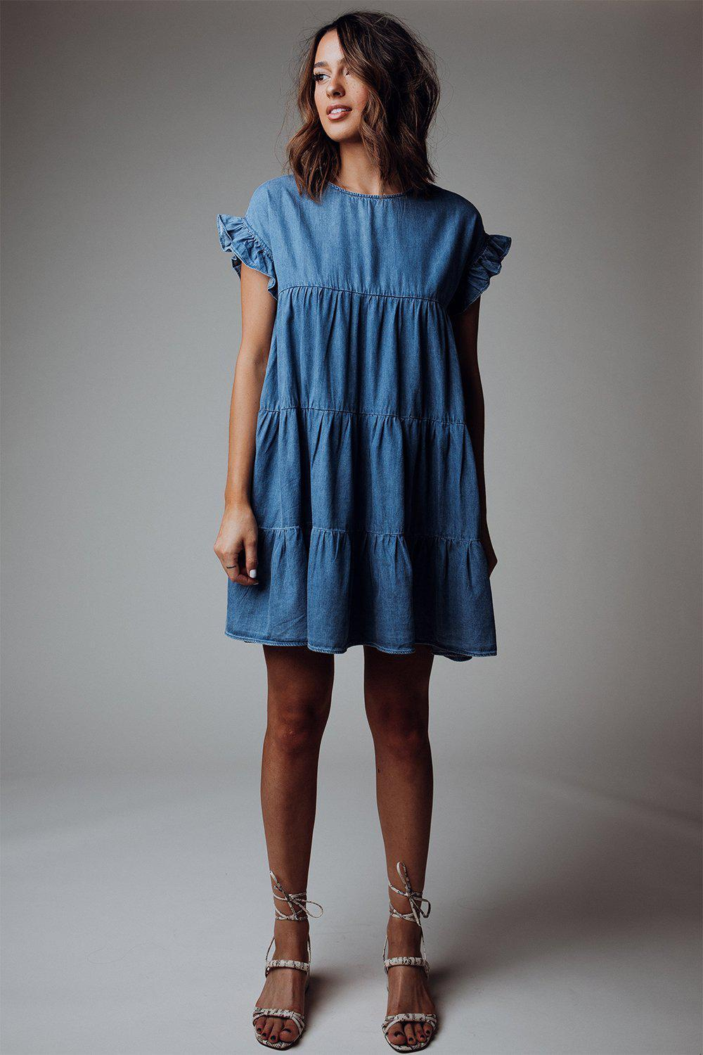 best_seller, Denim Blues Tiered Dress - FINAL SALE, Dress, women's clothing, dresses, skirts, coats, jackets, shoes, boots, tops, tee shirts, jeans, free people, levi's, rollas, jumpsuits, bottoms, tops, sweaters, pullovers, pants, shorts, sweats,.