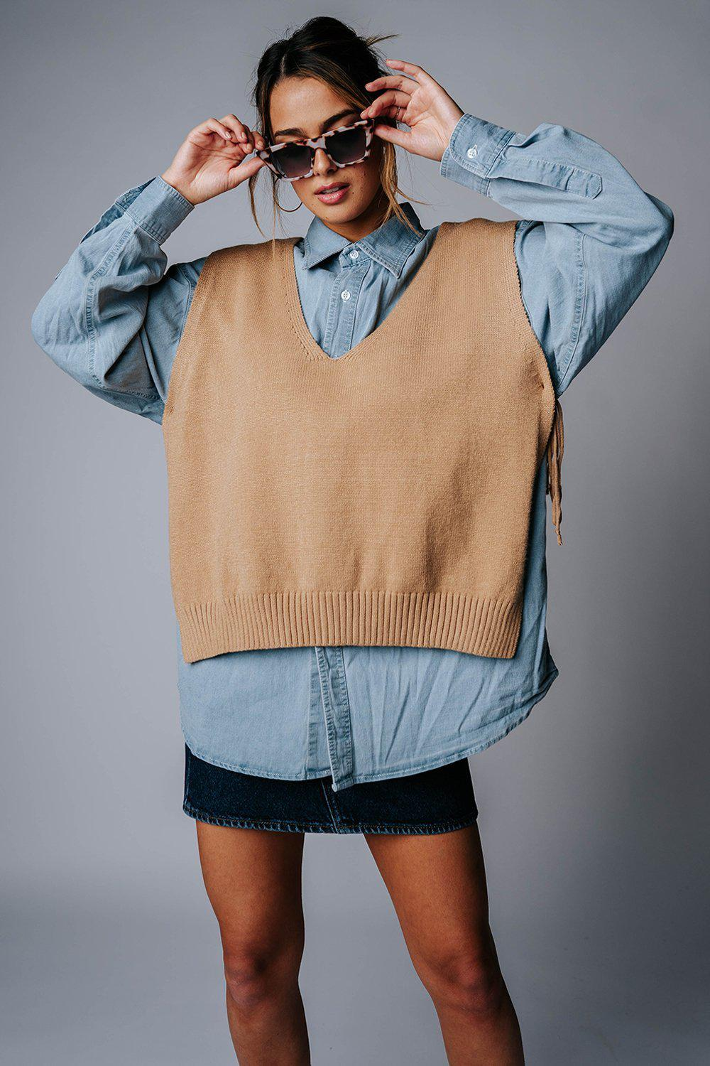 best_seller, Don't Play Oversized Denim Top - FINAL SALE, Top, women's clothing, dresses, skirts, coats, jackets, shoes, boots, tops, tee shirts, jeans, free people, levi's, rollas, jumpsuits, bottoms, tops, sweaters, pullovers, pants, shorts, sweats,.