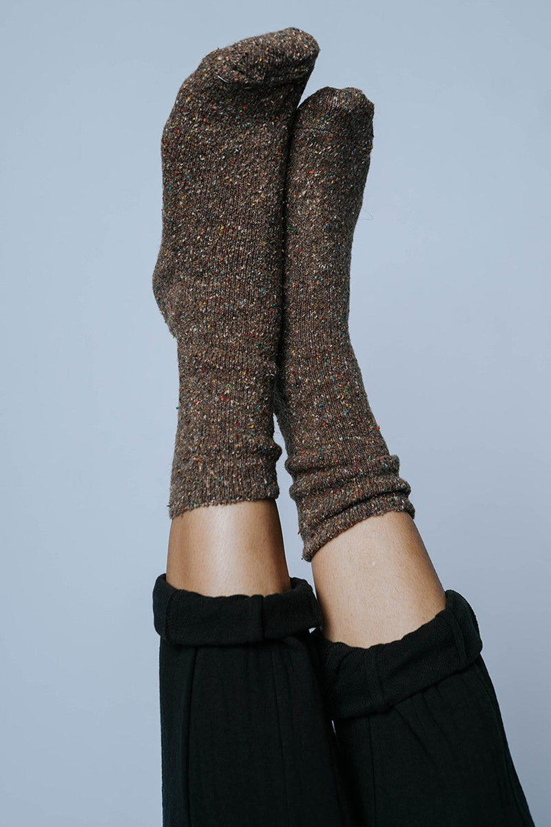Clad and Cloth, Follow Me to Fall Socks in Taupe, Avenue Zoe, Accessory.