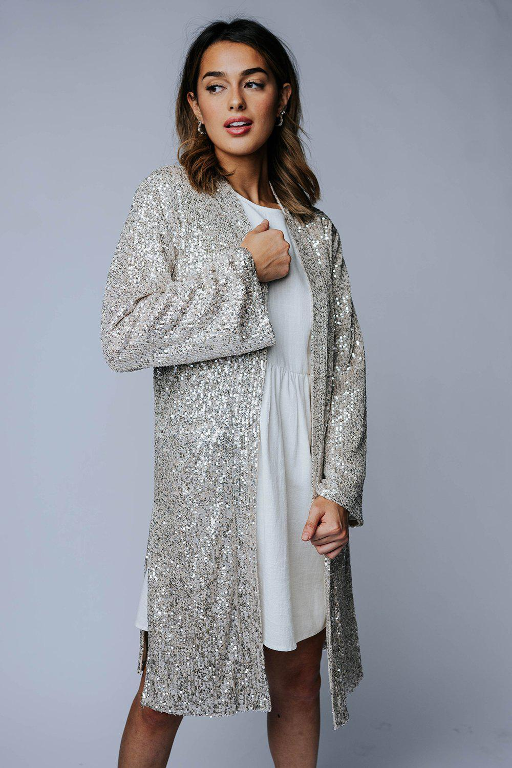 Fool's Gold Sequin Cardigan-Top-By Together-S-Clad & Cloth