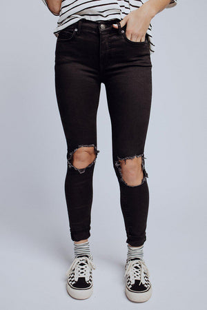 best_seller, Free People Busted Knee Skinny Jean in Black, Bottom, women's clothing, dresses, skirts, coats, jackets, shoes, boots, tops, tee shirts, jeans, free people, levi's, rollas, jumpsuits, bottoms, tops, sweaters, pullovers, pants, shorts, sweats,.