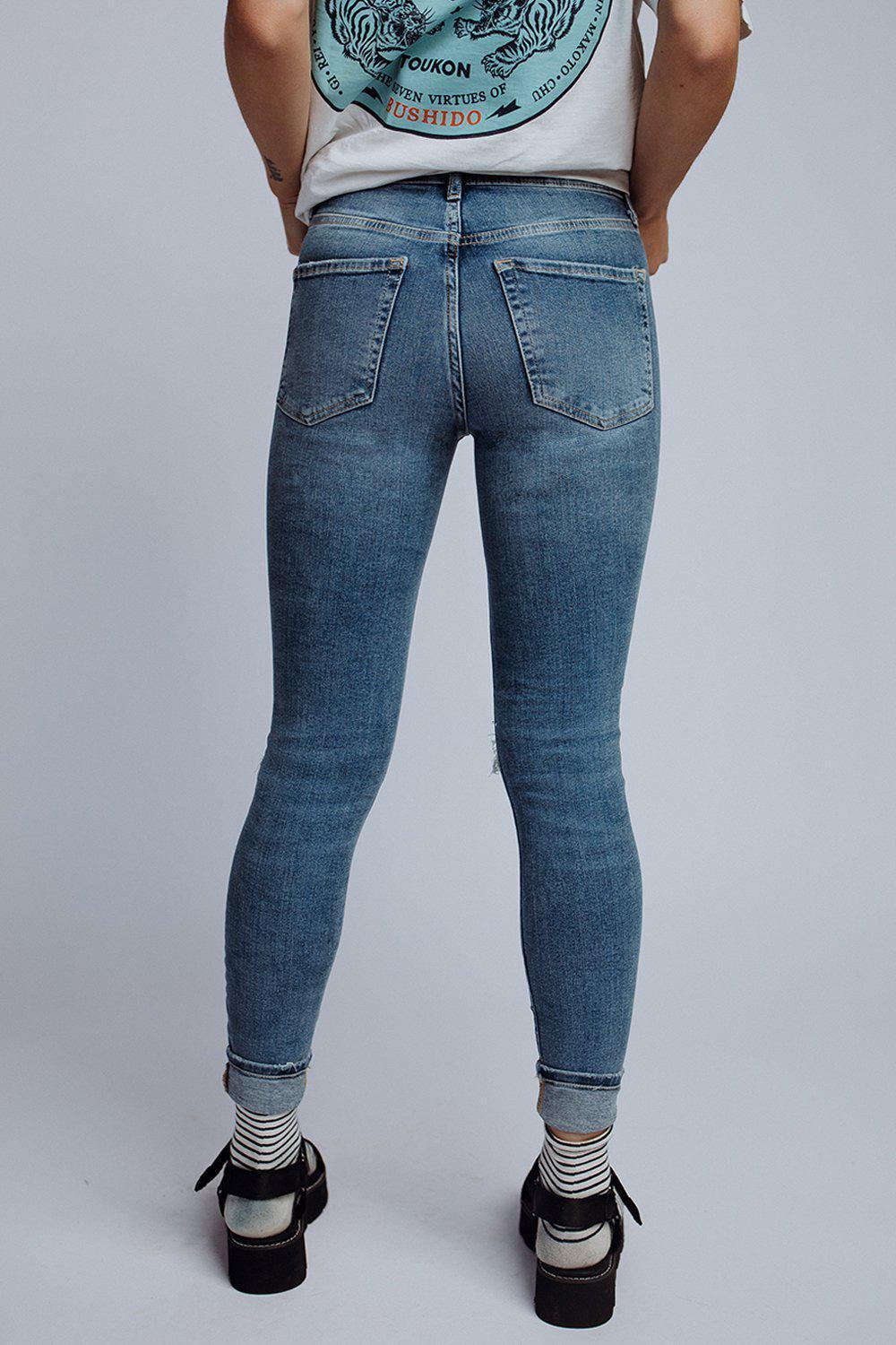 best_seller, Free People Busted Knee Skinny Jean in Navy, Bottom, women's clothing, dresses, skirts, coats, jackets, shoes, boots, tops, tee shirts, jeans, free people, levi's, rollas, jumpsuits, bottoms, tops, sweaters, pullovers, pants, shorts, sweats,.