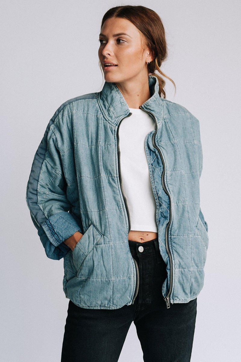 Free People Dolman Quilted Jacket in Denim, cladandcloth, Free People.