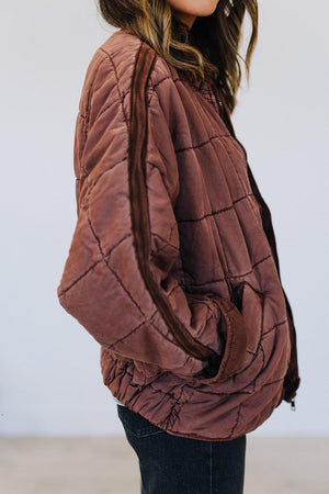 Clad and Cloth, Free People Dolman Quilted Jacket in Cherry Cola, Free People, Jacket.