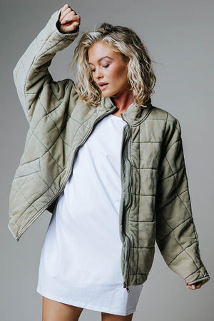 Free People Dolman Quilted Knit Jacket in Pine Slumber, cladandcloth, n/a.