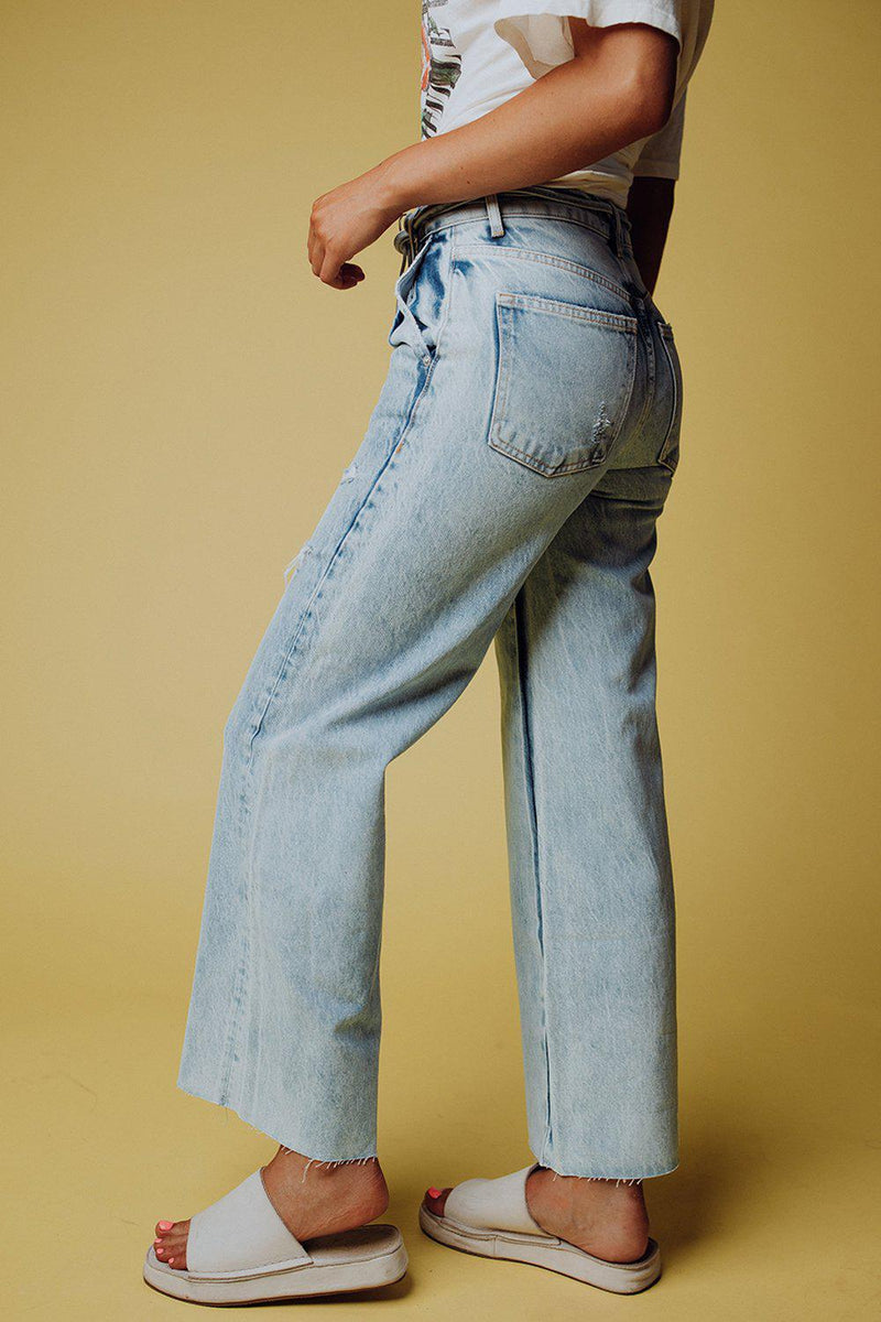 Clad and Cloth, Free People Kinsey Crop Jeans in Light Wash Denim, Free People, Bottom.