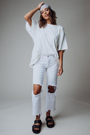 Free People Maggie Mid Rise Straight Leg Jeans in White, cladandcloth, n/a.