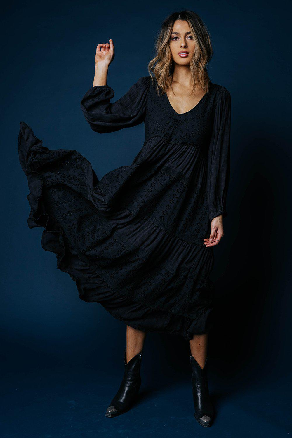 Free People Mockingbird Maxi Dress in Black-Dress-Free People-S-Clad & Cloth