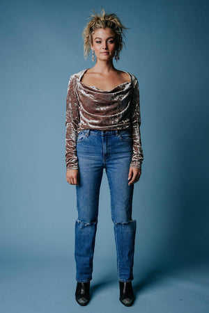 Free People Perfect Date Top in Taupe Stone, cladandcloth, n/a.