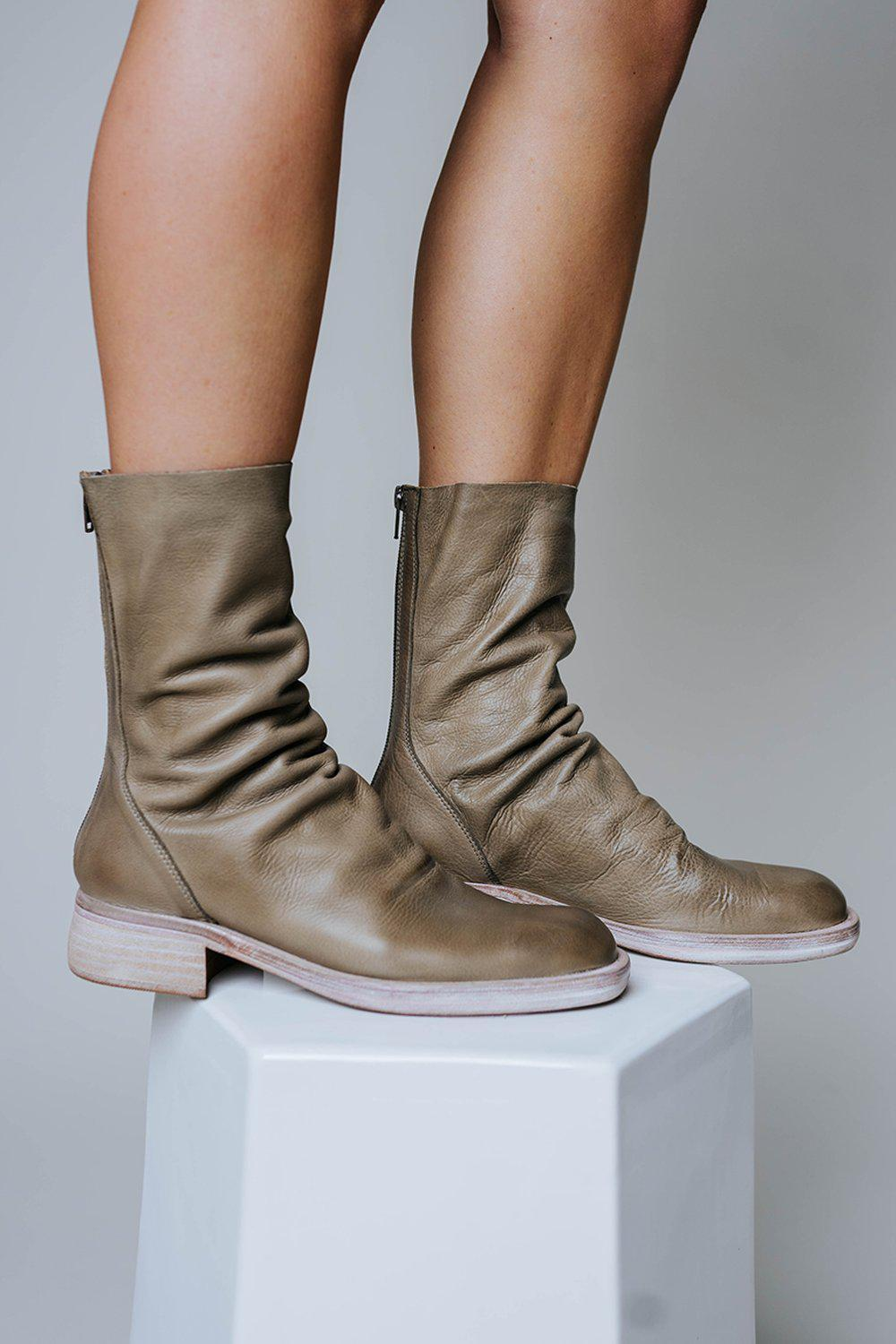 Free People Sutton Tight Slouch Boot in Taupe, cladandcloth, n/a.