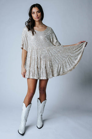 Gold Baby Gold Sequin Dress-Dress-By Together-S-Clad & Cloth