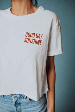 best_seller, Good Day Sunshine Tee, , women's clothing, dresses, skirts, coats, jackets, shoes, boots, tops, tee shirts, jeans, free people, levi's, rollas, jumpsuits, bottoms, tops, sweaters, pullovers, pants, shorts, sweats,.
