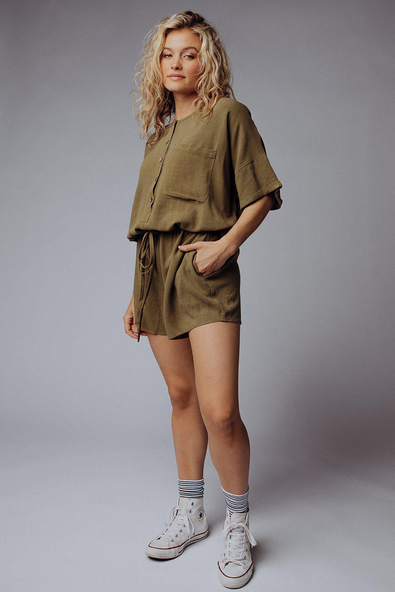 best_seller, Henley Linen Romper in Olive - FINAL SALE, Bottom, women's clothing, dresses, skirts, coats, jackets, shoes, boots, tops, tee shirts, jeans, free people, levi's, rollas, jumpsuits, bottoms, tops, sweaters, pullovers, pants, shorts, sweats,.