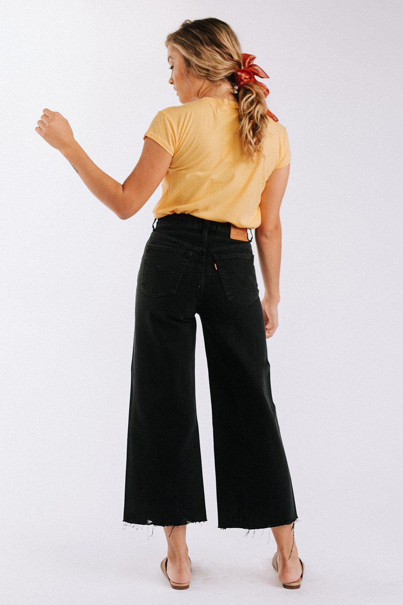 Clad and Cloth, High Water Wide Leg in Black, Levi's, Bottom.