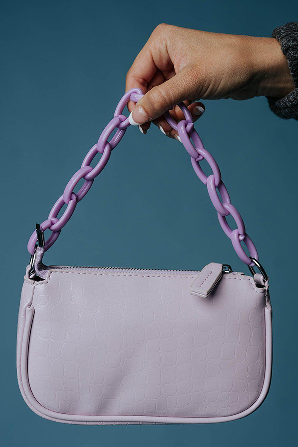 In a While Crocodile Shoulder Bag in Lavender-Accessory-Appleblossom-OS-Clad & Cloth