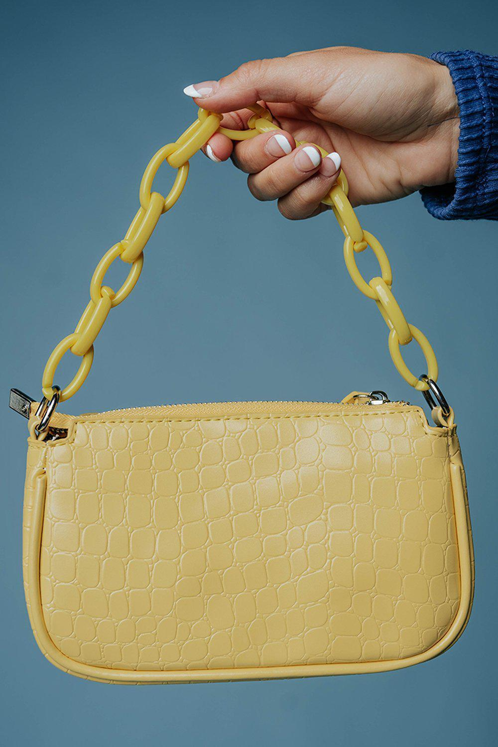 In a While Crocodile Shoulder Bag in Yellow-Accessory-Appleblossom-OS-Clad & Cloth