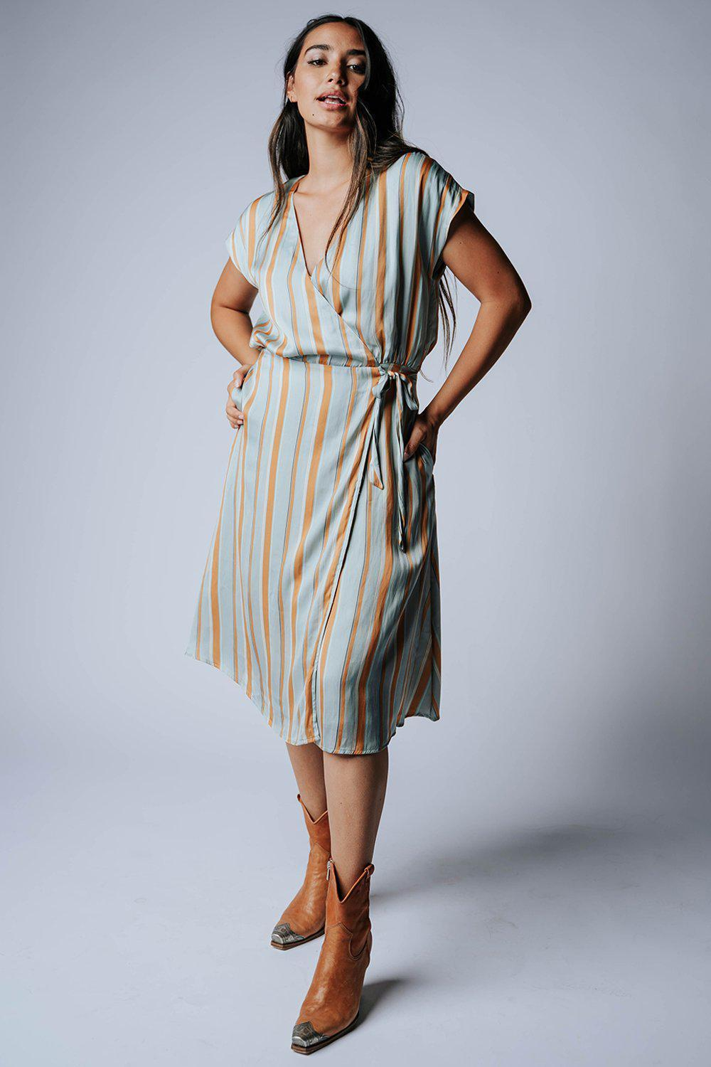 best_seller, Into the Sun Striped Dress in Aqua - FINAL SALE, Dress, women's clothing, dresses, skirts, coats, jackets, shoes, boots, tops, tee shirts, jeans, free people, levi's, rollas, jumpsuits, bottoms, tops, sweaters, pullovers, pants, shorts, sweats,.