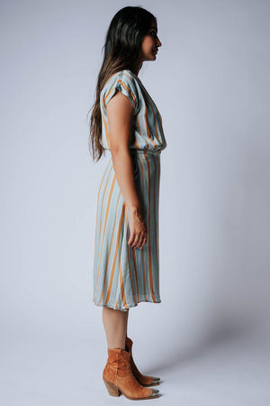 Into the Sun Striped Dress in Aqua, cladandcloth, n/a.