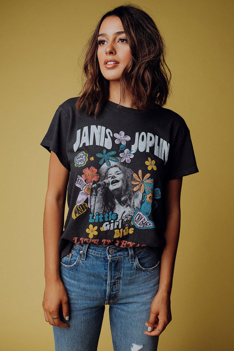 best_seller, Janis Joplin Little Girl Blue Tour Tee - FINAL SALE, Tees, women's clothing, dresses, skirts, coats, jackets, shoes, boots, tops, tee shirts, jeans, free people, levi's, rollas, jumpsuits, bottoms, tops, sweaters, pullovers, pants, shorts, sweats,.