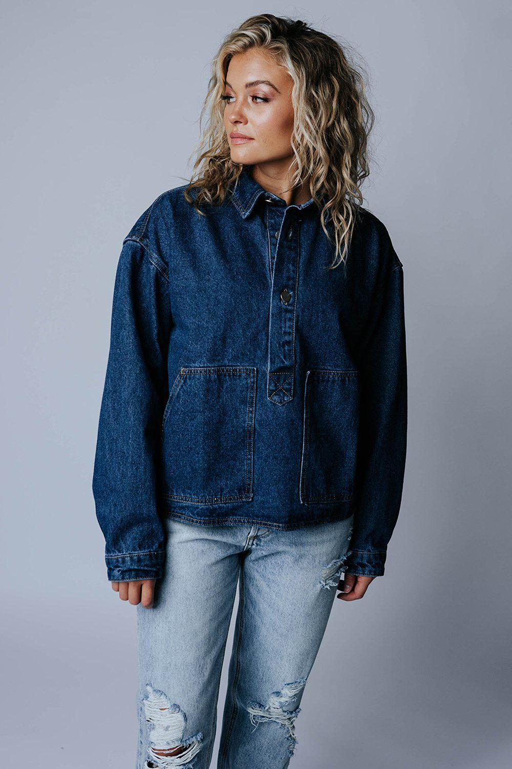 best_seller, Karma's Denim Jacket - FINAL SALE, , women's clothing, dresses, skirts, coats, jackets, shoes, boots, tops, tee shirts, jeans, free people, levi's, rollas, jumpsuits, bottoms, tops, sweaters, pullovers, pants, shorts, sweats,.