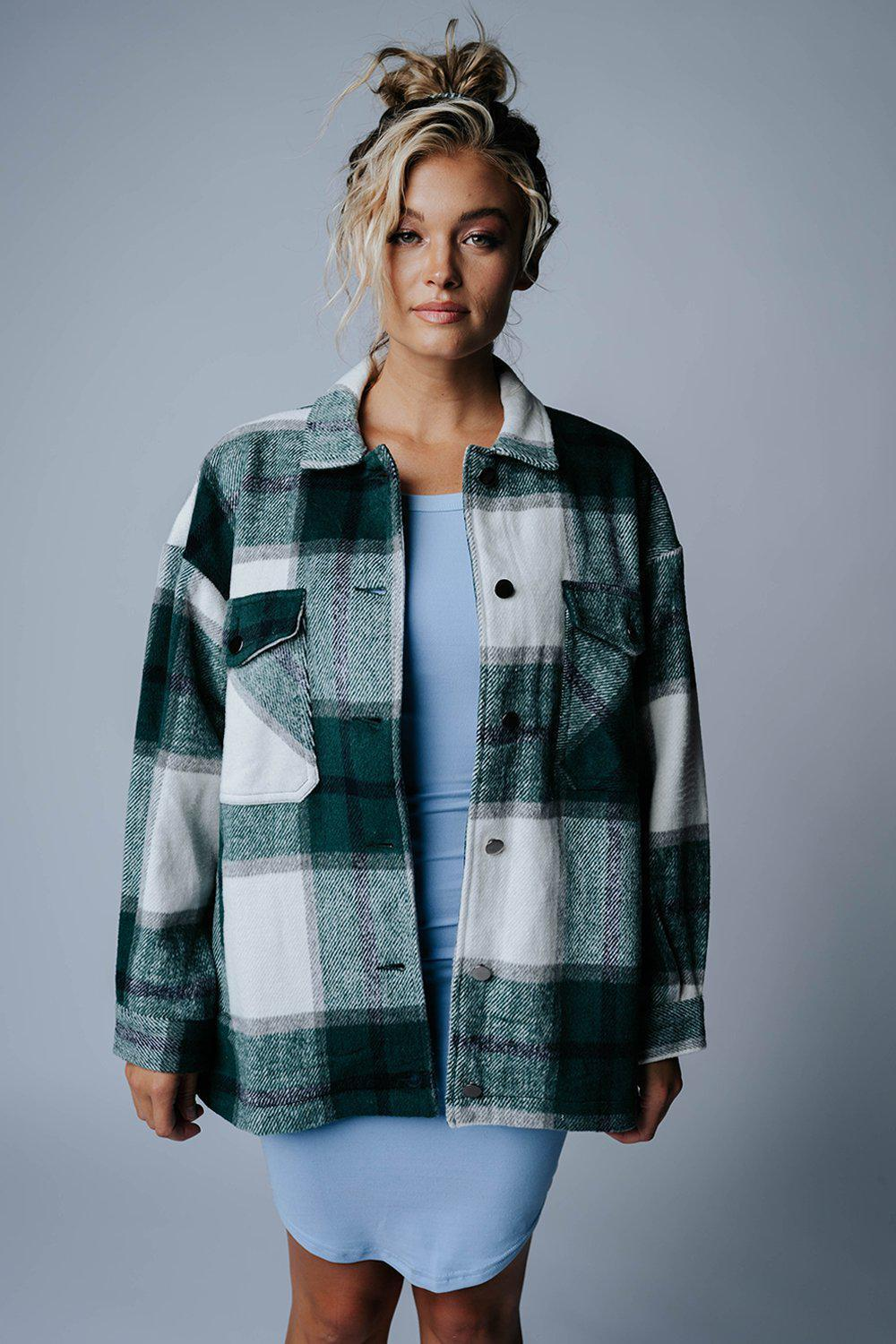 best_seller, Keepin' It Evergreen Plaid Jacket, Top, women's clothing, dresses, skirts, coats, jackets, shoes, boots, tops, tee shirts, jeans, free people, levi's, rollas, jumpsuits, bottoms, tops, sweaters, pullovers, pants, shorts, sweats,.