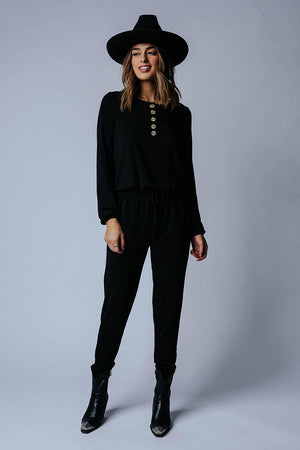 Clad and Cloth, Lazy Saturday Jumpsuit in Black, Zenana, Bottom.