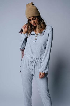 Lazy Saturday Jumpsuit in Heather Grey, cladandcloth, Zenana.