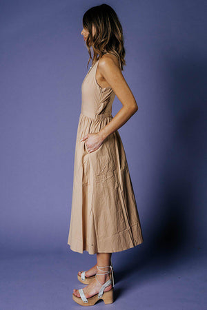 Madeline Dress in Beige-Dress-MOVINT-XS-Clad & Cloth