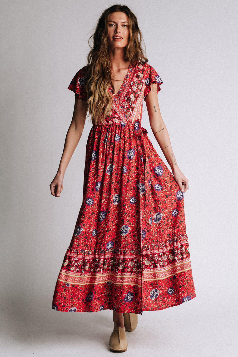 Milan Dress in Red, cladandcloth, n/a.