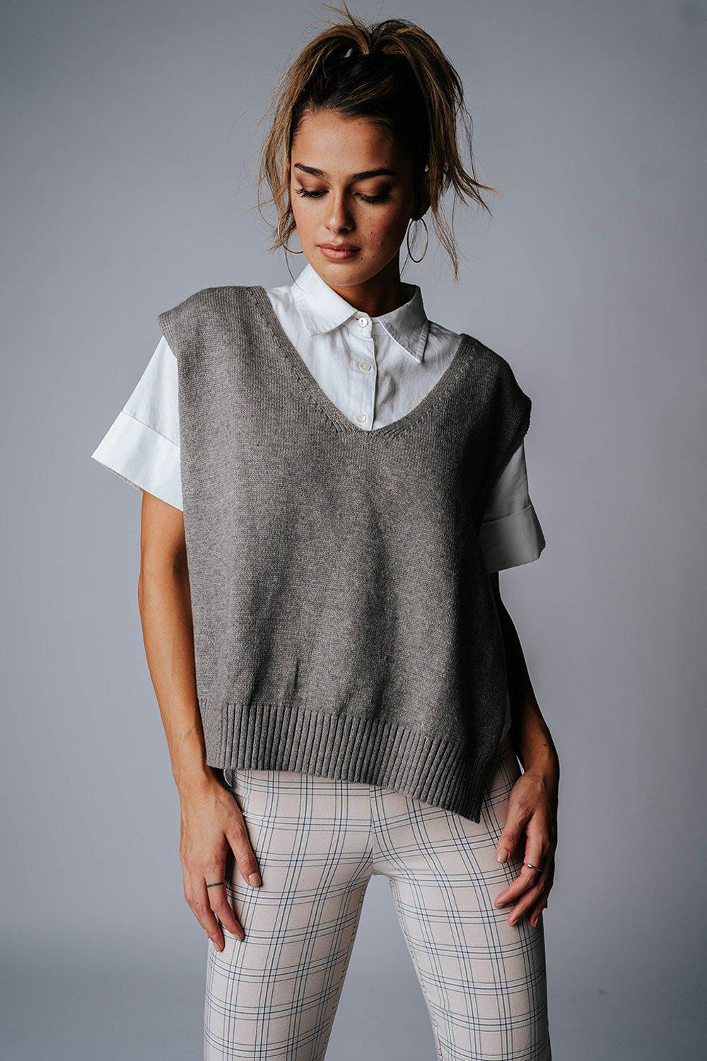 best_seller, No Interruptions Sweater Vest in Grey, Top, women's clothing, dresses, skirts, coats, jackets, shoes, boots, tops, tee shirts, jeans, free people, levi's, rollas, jumpsuits, bottoms, tops, sweaters, pullovers, pants, shorts, sweats,.