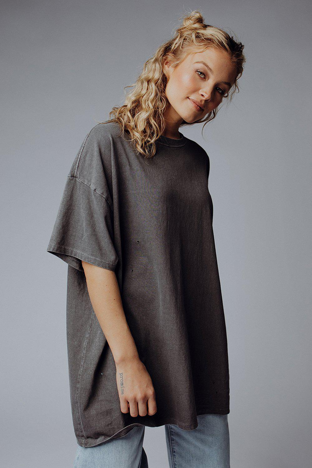 best_seller, Not Your Boyfriend's Tee in Charcoal - FINAL SALE, Tees, women's clothing, dresses, skirts, coats, jackets, shoes, boots, tops, tee shirts, jeans, free people, levi's, rollas, jumpsuits, bottoms, tops, sweaters, pullovers, pants, shorts, sweats,.