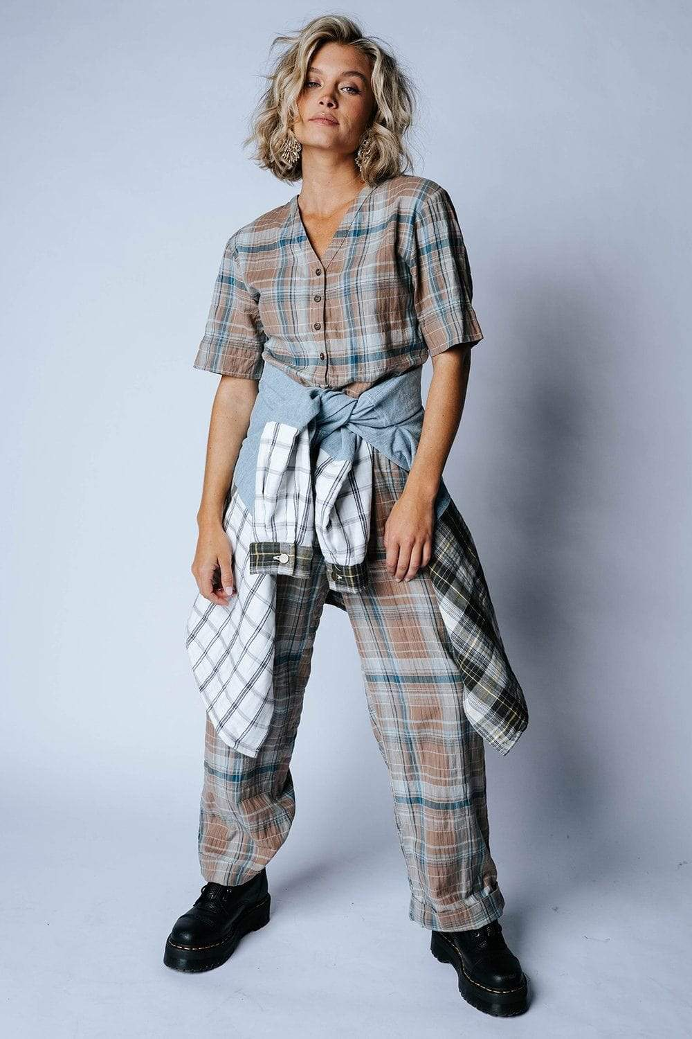 Plaid it's a Jumpsuit-Bottom-Bobbie Wren-XS-Clad & Cloth