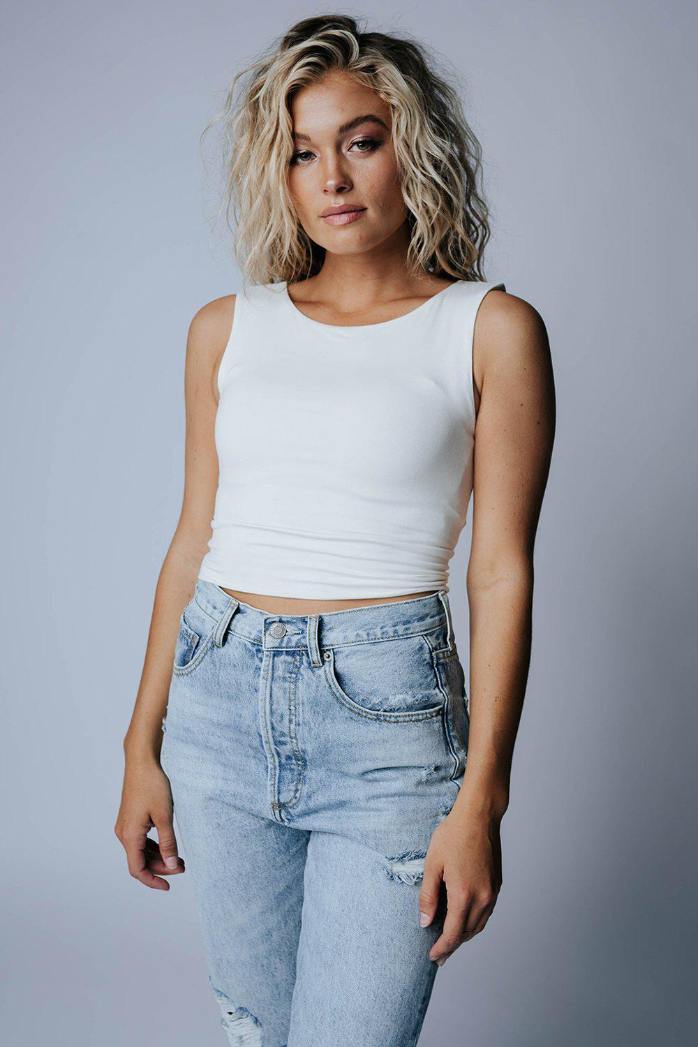 best_seller, Right Round Tank in White, Top, women's clothing, dresses, skirts, coats, jackets, shoes, boots, tops, tee shirts, jeans, free people, levi's, rollas, jumpsuits, bottoms, tops, sweaters, pullovers, pants, shorts, sweats,.