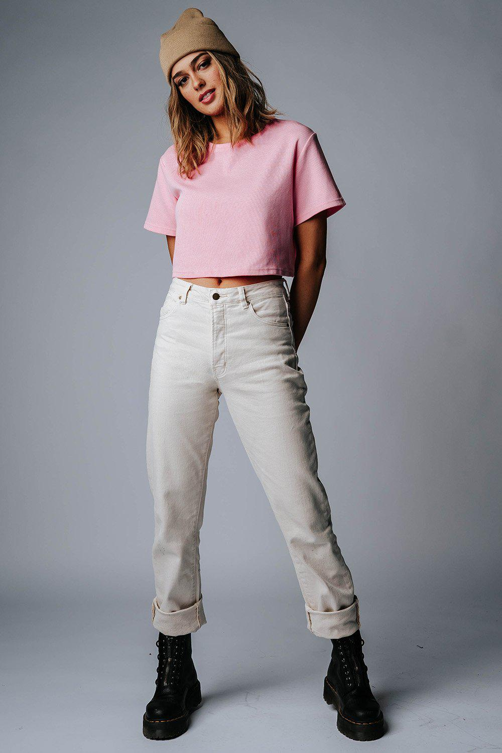best_seller, Rollas Classic Straight Jeans in Cream - FINAL SALE, Bottom, women's clothing, dresses, skirts, coats, jackets, shoes, boots, tops, tee shirts, jeans, free people, levi's, rollas, jumpsuits, bottoms, tops, sweaters, pullovers, pants, shorts, sweats,.